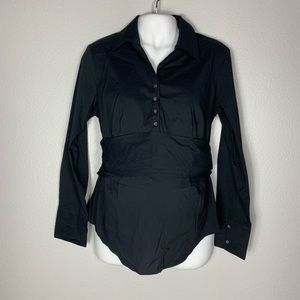 LOFT Maternity Black Button Down Shirt